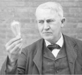 "Edison tried 1,000 filaments for the electric lightbulb before he found one that worked. He called them ""my one thousand magnificent failures""."